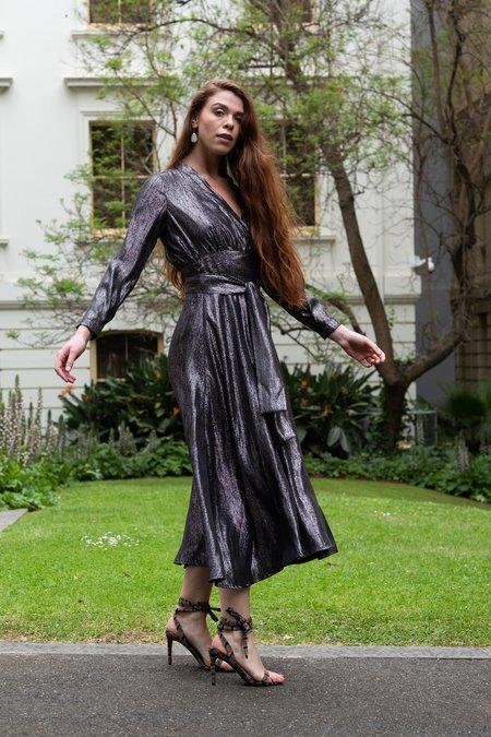 Dominique Healy Mala Wrap Dress - Silver Silk