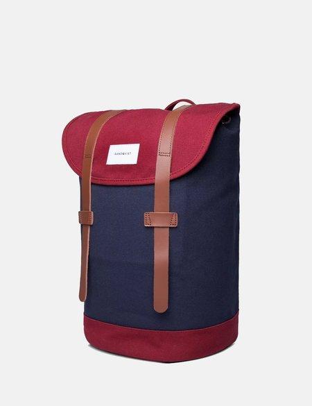 Sandqvist Stig Canvas Backpack - Blue/Burgundy