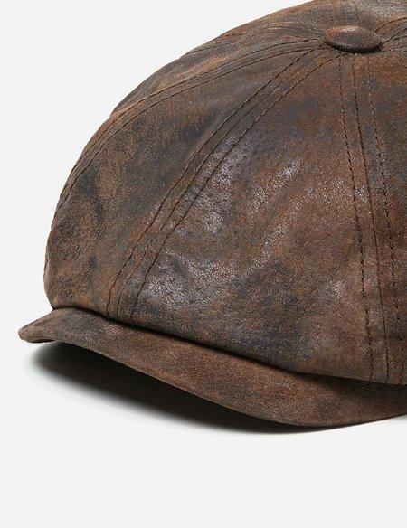 Stetson Hatteras Pigskin Newsboy Cap - Dark Brown