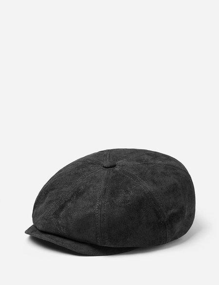 Stetson Hatteras Pigskin Leather Newsboy Cap - Black
