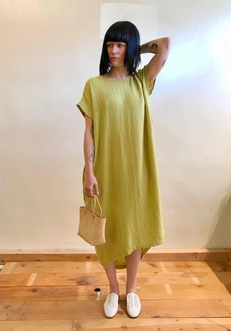 Black Crane Pleated Cocoon Dress - Lemon