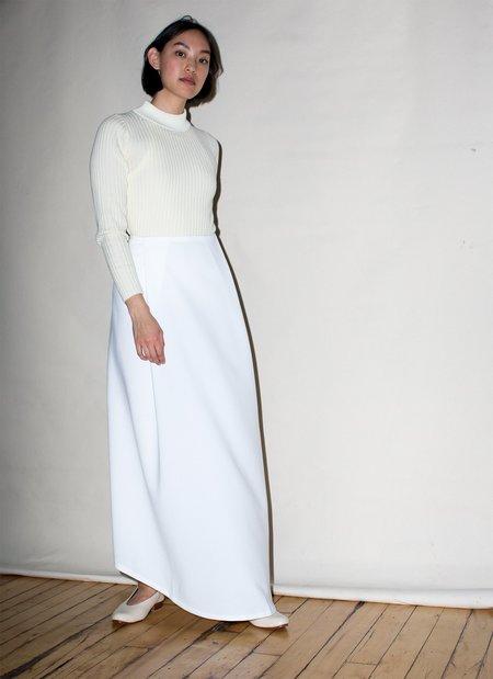 KAAREM Waterfall Deep Pleated Skirt - White