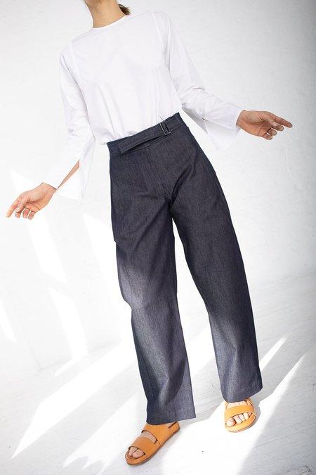 Studio Nicholson Washed Denim Morrow Displaced Seam Pants - Indigo