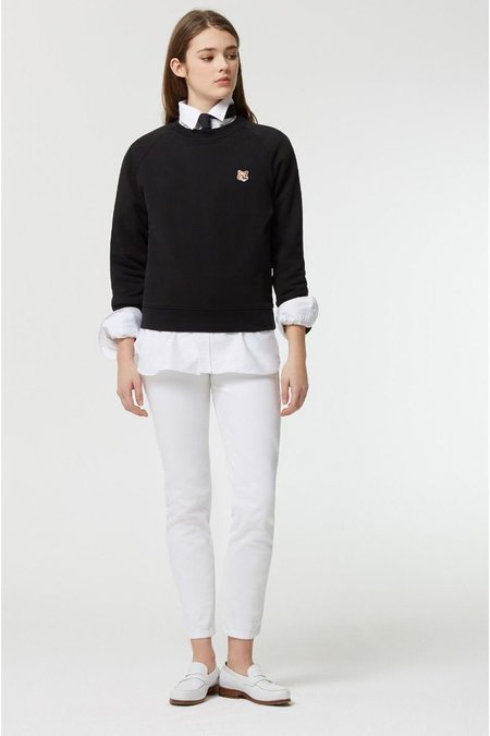 Kitsune Tricolor Fox Patch Sweatshirt - Black