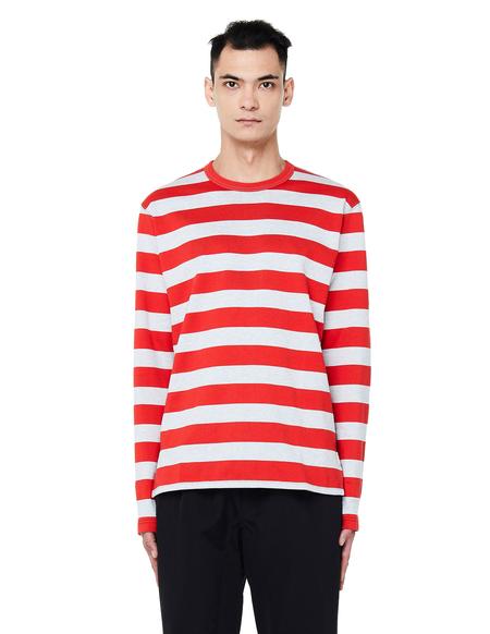 Junya Watanabe Striped Long Sleeve T-Shirt - Red/Grey