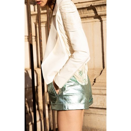 Nour Hammour Cameron Metallic Leather Shorts - Mint