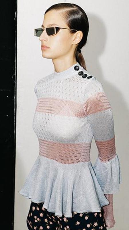 Self-Portrait Lurex Knit Top - Pink/Blue Stripe