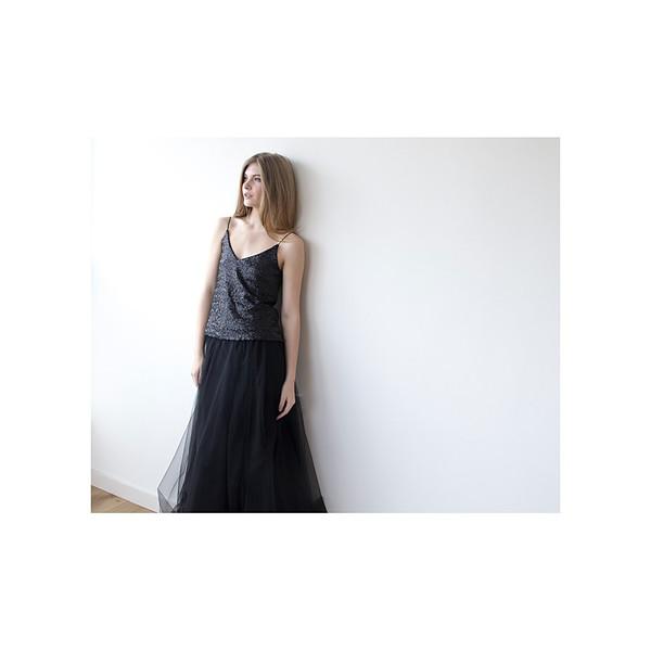 Blush Long Black Tulle Skirt