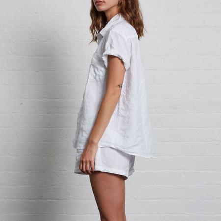 In Bed Linen Short Sleeve Shirt - White