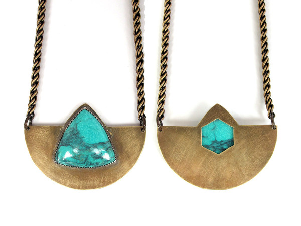 Laurel Hill Arc Necklace with Turquoise