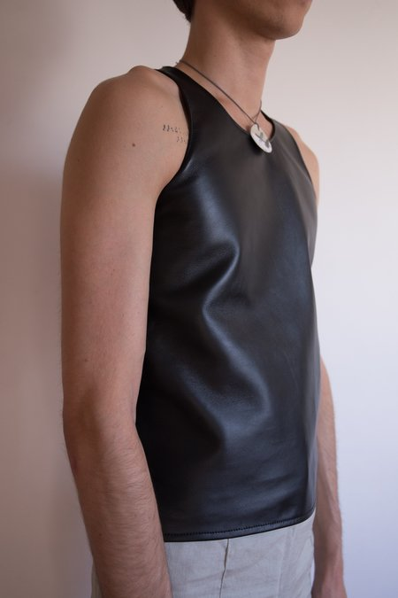 LUDOVIC DE SAINT SERNIN Lamb Leather Tank - black