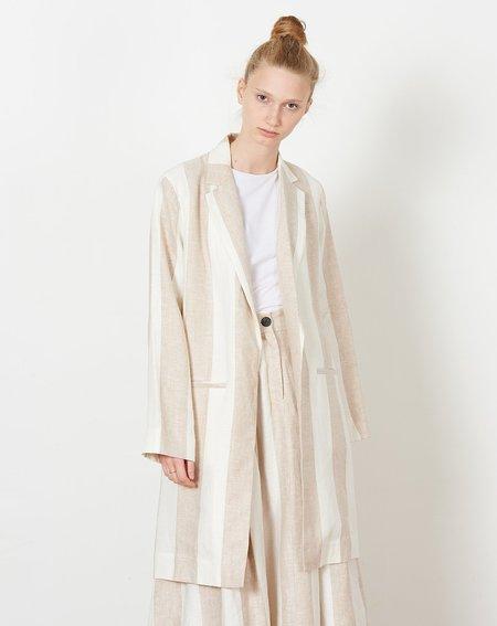 Mara Hoffman Bia Blazer - Cream/Khaki Plaza Stripe