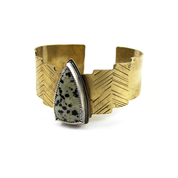 Laurel Hill Shield Cuff // Dalmatian Jasper