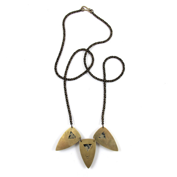 Laurel Hill Triple Shield Necklace // Dalmatian Jasper