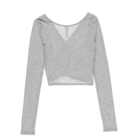 Alo Yoga Amelia Luxe Long Sleeve Crop Top - Dove Grey Heather
