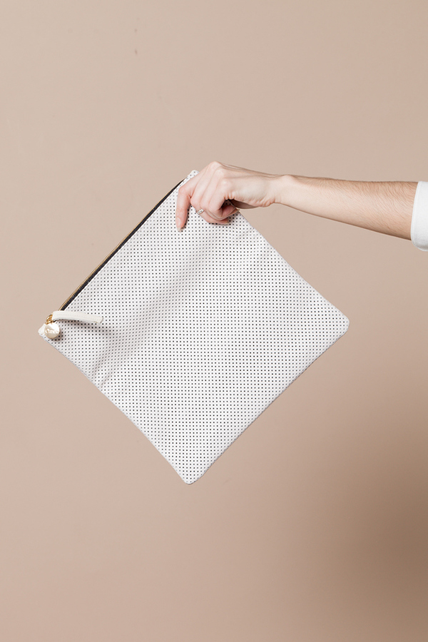 Clare V. Foldover Clutch - perforated white