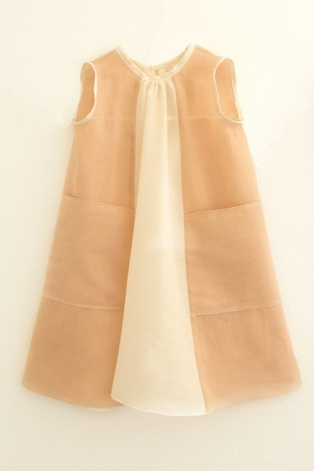 KIDS Petit Mioche bicolore dress - natural/adobe
