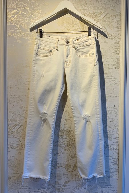 R13 Boy Straight Cropped Fray Denim - Garret White