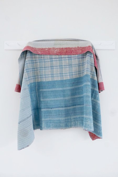 Karu Vintage Kantha Quilt - Blue/White Check