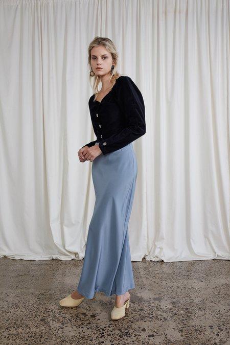 OVNA OVICH Silk Crepe Plath Skirt - Steel