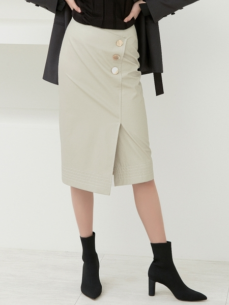 Clue De Clare Stitch Detail Wrap Skirt - Beige