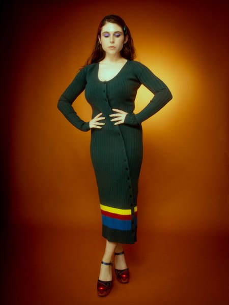 Isola Marras Asymmetrical Knit Dress - green