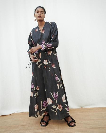 Nanushka HAZEL Balloon sleeve maxi dress - Intarzia Flower