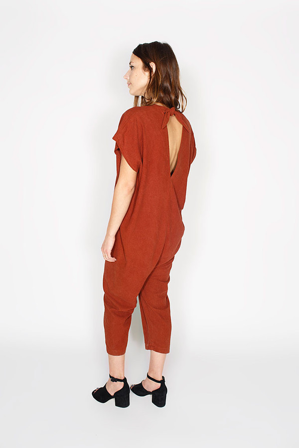 Sale! Everyday Jumpsuit, Silk Noil in Rust