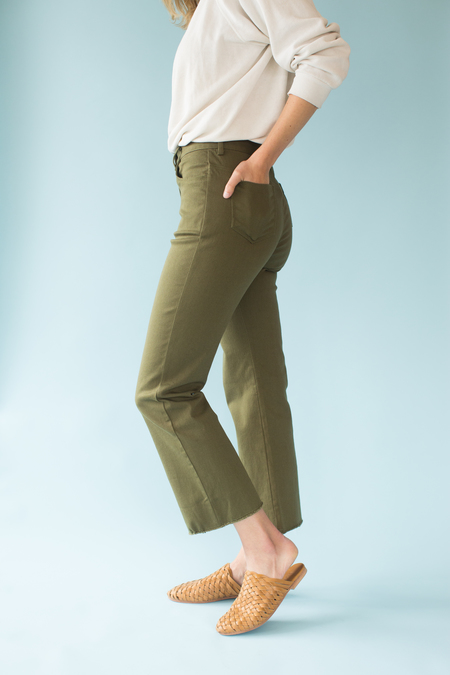 Side Party Betty Flared Raw Hem Jeans - green