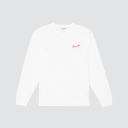 Carhartt Wip L/S Spill Script T-Shirt - White/Blast Red