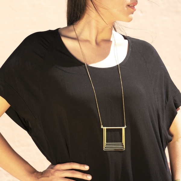 Hellbent Large Square Fade Necklace