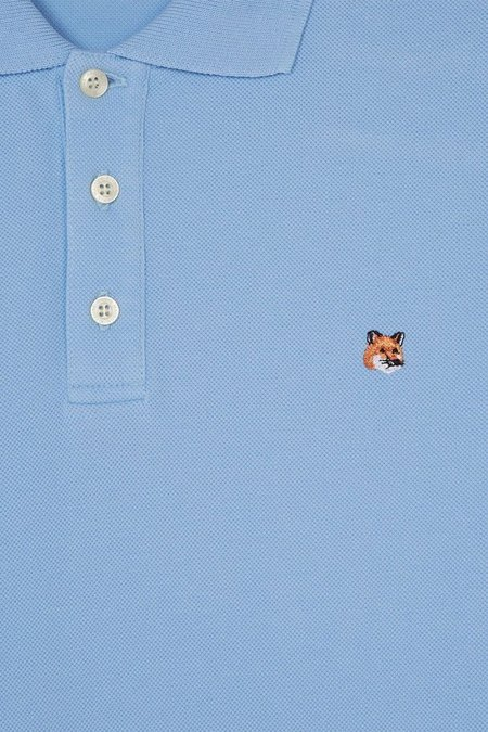 Maison Kitsune Polo Fox Head Embroidery - Light Blue
