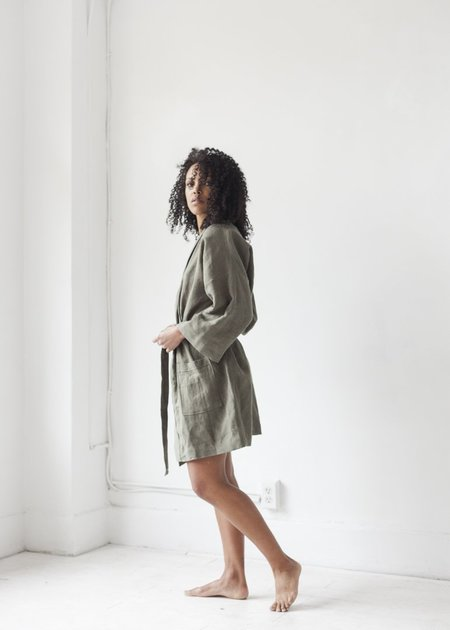 Miel Short Robe - Khaki Green