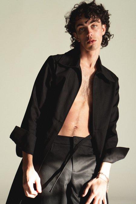 LUDOVIC DE SAINT SERNIN Tie Front Cotton Long Jacket