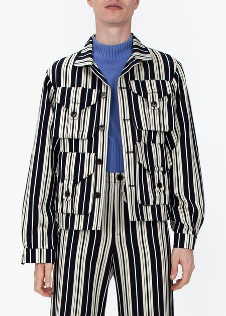 fomme Work Jacket - Blue Stripes