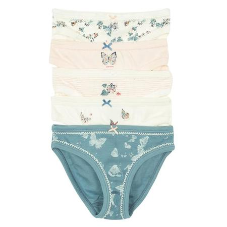 KIDS Petit Bateau Set Of Five Girls Underwear With Butterfly Print - Pink And Blue