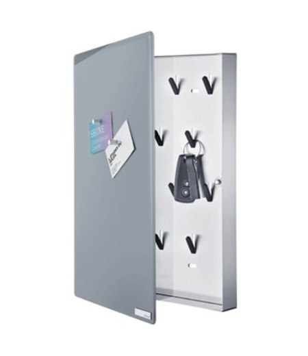 BLOMUS Glass magnet board, w/ hook organizer - gray