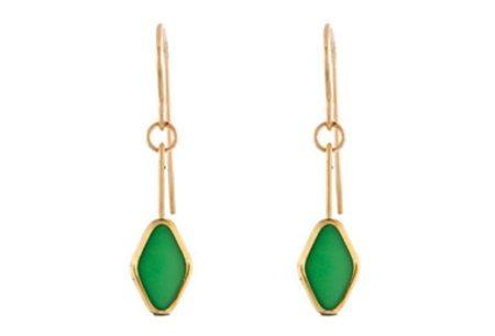 IRK Jewelry DIAMOND DROP EARRINGS - GREEN/24K DETAIL