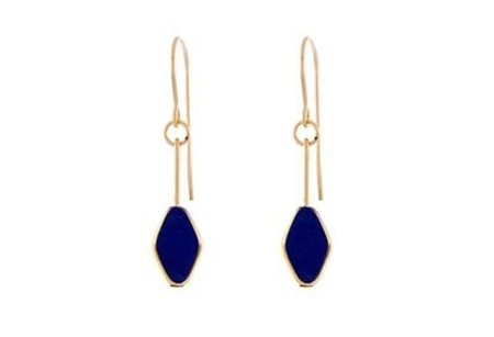 IRK Jewelry DIAMOND DROP EARRINGS - NAVY/24K DETAIL