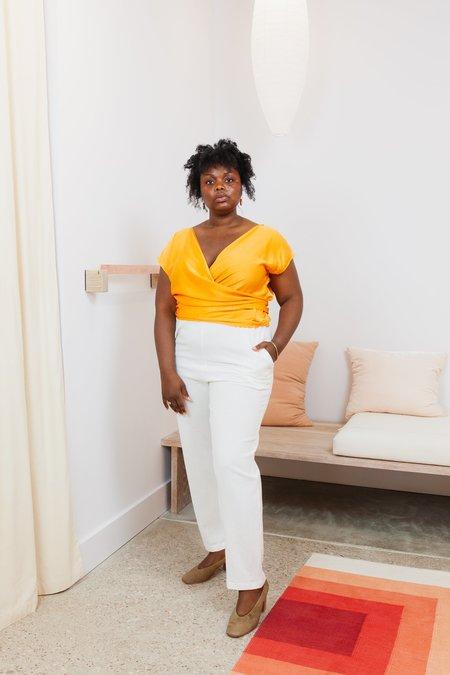 Miranda Bennett Textured Cotton Hadid Pant - White