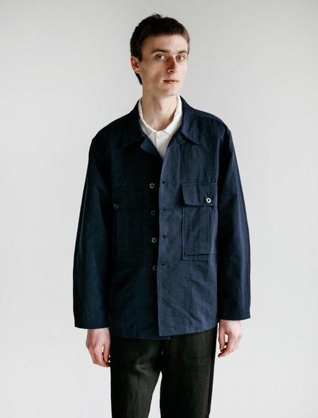 Evan Kinori Nylon Linen Bellow Pocket Jacket - Navy