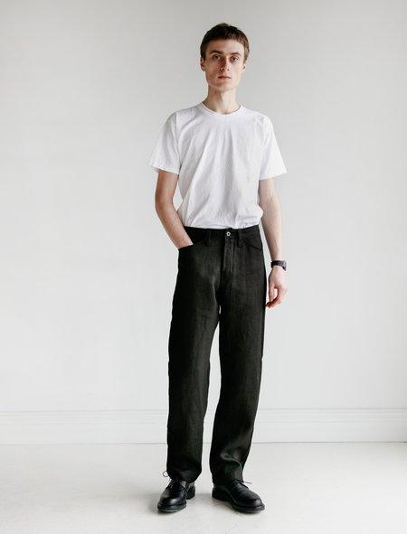 Evan Kinori Hemp Herringbone Four Pocket Pant - Black