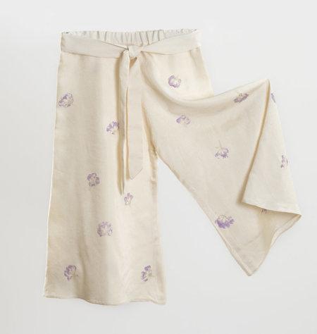 Kids Petit Mioche Eco-printed Long Silk Pants