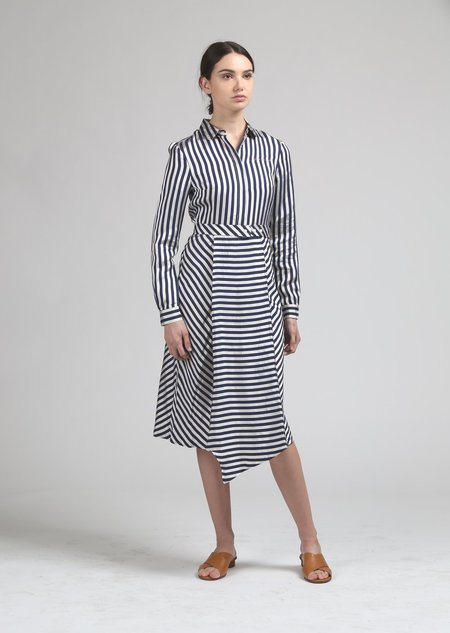 Maison Labiche Pareo Shirt Dress - Navy/White