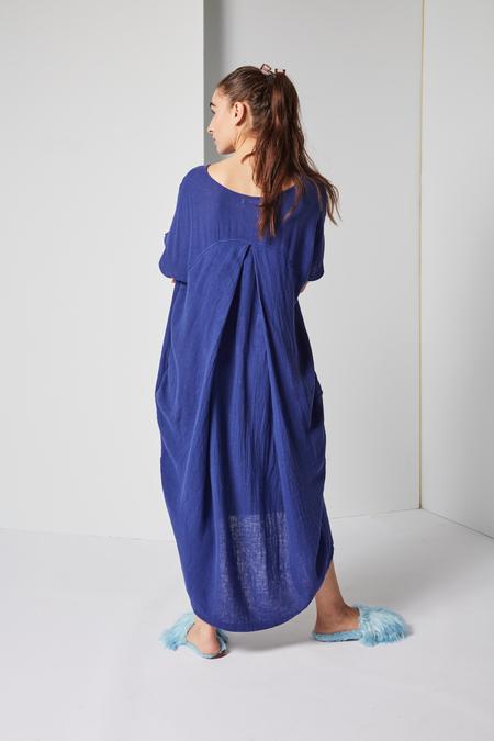 Black Crane Pleated Cocoon Dress in Marine Linen Rayon Woven