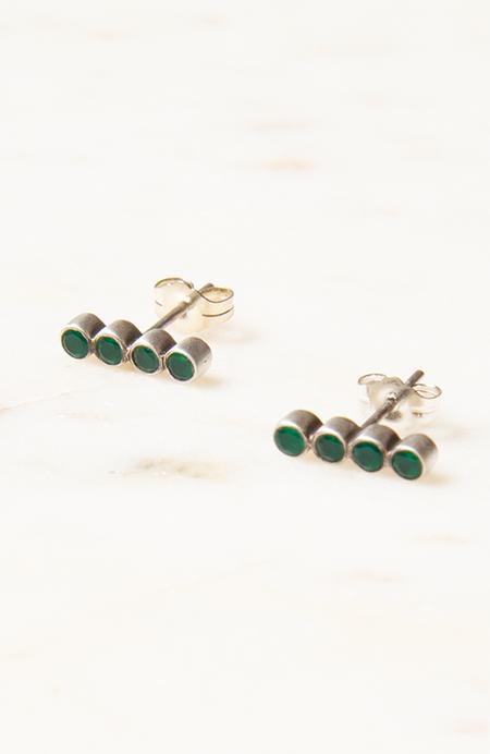 Jane Diaz NY Faceted Stone Bar Stud Earrings