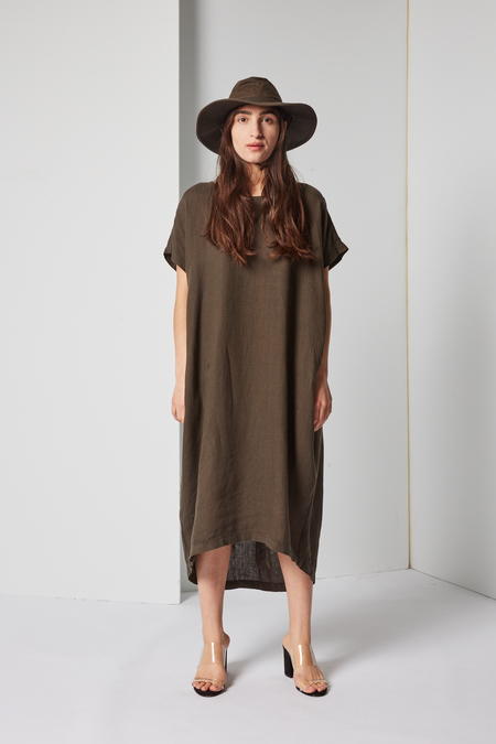 Black Crane Pleated Cocoon Dress in Charcoal Linen Woven