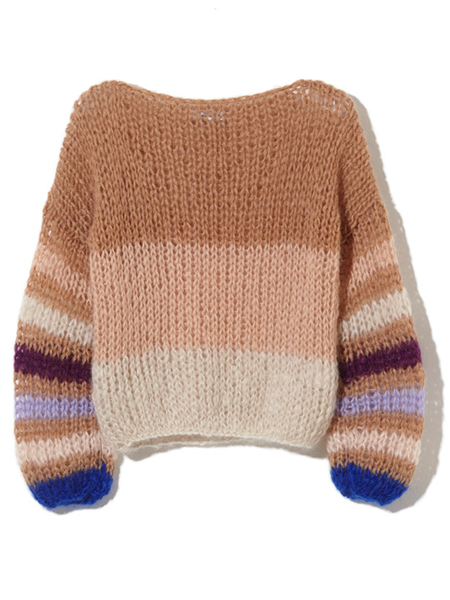 Maiami Mohair Striped Sweater Blouse - Camel