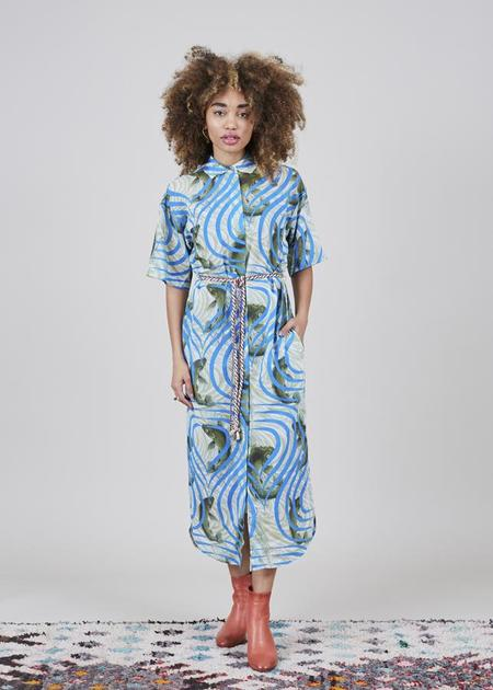 Odeeh Belted Koi Dress - Green/Blue