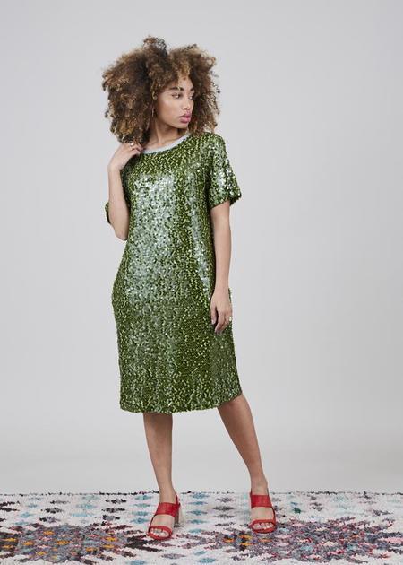 Odeeh Sequin T-Shirt Dress - green